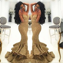 ANTI Gold Luxury 2016 Mermaid Evening Dress Sequined Long Formal Gowns For Wedding Party Celebrity Guest Dress Real Picture