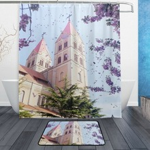Waterproof Customized Shower Curtain and bath mat Combination For The Bathroom Decor