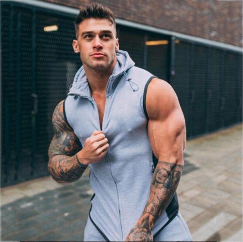 Basic Hooded Jacket Vest Waistcoat men-9