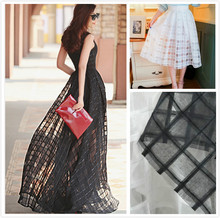 Eugen Yarn Jacquard embroidered plaid cloth fabric black and white squares Dress Skirt(China)