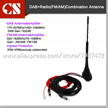 DC 12V DVB DAB FM AM antenna,12V Amplified Booster Car Digital TV And AM/FM Radio Box Antenna