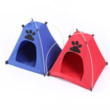 New New Lovely Pet Tent Folding Dog House Camping Cat Kennel Bed Beach Tent Kennel With Mat Striped Outdoor T0.16