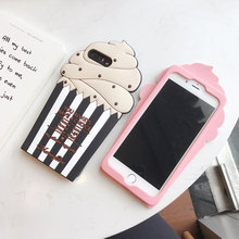 Hot Sale 3D Ice Cartoon Cream Case on for Iphone 6 6S 6 6S Plus 7 7Plus Back Cover Soft Silicon Rubber Case Capa+ Rope Capa(China)