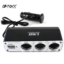 IZTOSS 3 Way Multi Socket With USB Port Car Cigarette Lighter Splitter Charger Universal USB Plug DC 12V/24V Triple Adapter