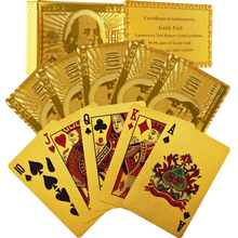 1Set 24K Gold Plated Poker Playing Cards Party Gift Collection Certificate $100 Dollar Pattern