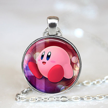 2016 New Fashion Pokemon Anime Jewely Kirby Super Smash Bros Fan Art Necklaces boho Glass Dome Simple Necklace