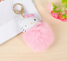 Kawaii Hello Kitty Plush Toy DOLL 14CM Approx. Fluffy Toy Pendant , Key Chain Toy Doll , with Key hook(China)