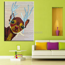 china painter home decor wholesale modern house home goods wall art animal deer abstract painting for children home decorate(China)