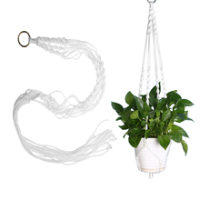 Handcrafted Braided White Macrame Plant Hanger Pot Holders Hanging Basket Garden Home Decoration Flower Plant Display(China)