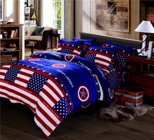 4pcs Polar Fleece Fabric Bedding set Queen Size Captain America Coral Fleece Sheets with Duvet Cover Bed Sheet set Winter Warm