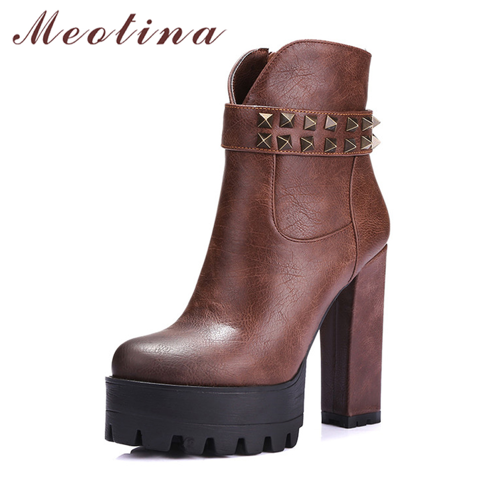 Meotina Women Motorcycle Boots Rivets Punk High Heel Ankle Boots Autumn Winter Platform High Boots Zip Ladies Shoe Gray Black 42<br>