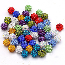 20pcs/lot 10MM Beads Jewelry Accessory DIY Shiny Czech Crystal Rhinestone Pave Clay Disco Ball Spacer Beads DIY