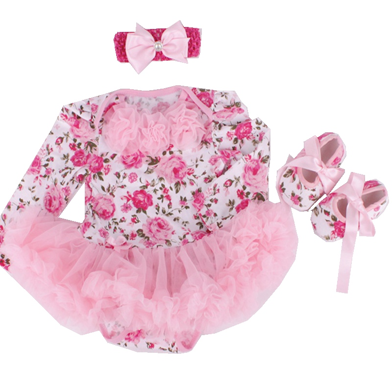 Newborn Baby Girl Floral Tutu Sets Pink Lace Baby Rompers Crib Shoes Headband Girls 3 Piece Outfits New Born Baby Clothes Gift<br><br>Aliexpress