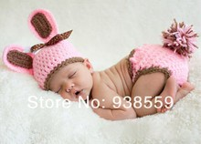 Free shipping,New Baby Infant Rabbit Easter Bunny Baby Hat & Diaper Cover Set Crochet PATTERN Photography Prop