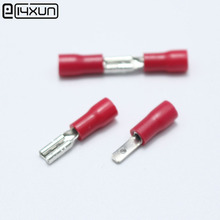 50pcs Red 2.8mm Spade Crimp Terminal 2.8 mm Male Female Pre Insulated Electrical Connectors for 22AWG - 16AWG Wire(China)