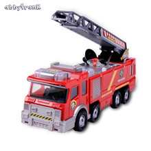 Abbyfrank Spray Water Musical Fire Truck Model Toy Light Vehicles Educational Toys For Kids Simulation Electric Car Firetruck(China)