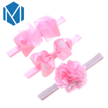 M MISM 3PCS Cute Newborn Baby Elastic Headband Ribbon Bow Girls Lovely Headwear Hair Bands Children Lace Flower Kids Turban Set(China)
