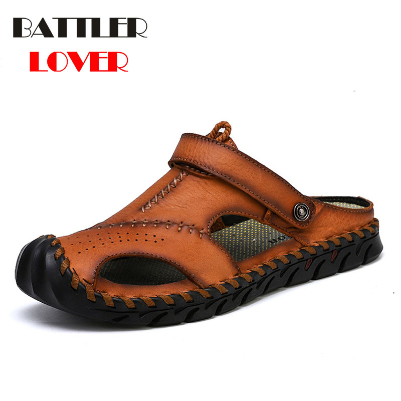 Men Casual Sandals Shoes Breathable Fashion Genuine Leather Summer Comfortable Shoes Men