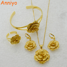 Anniyo Rose Jewelry set Pendant Necklace Earring Bangle Ring Silver/Gold Color African Set #055506
