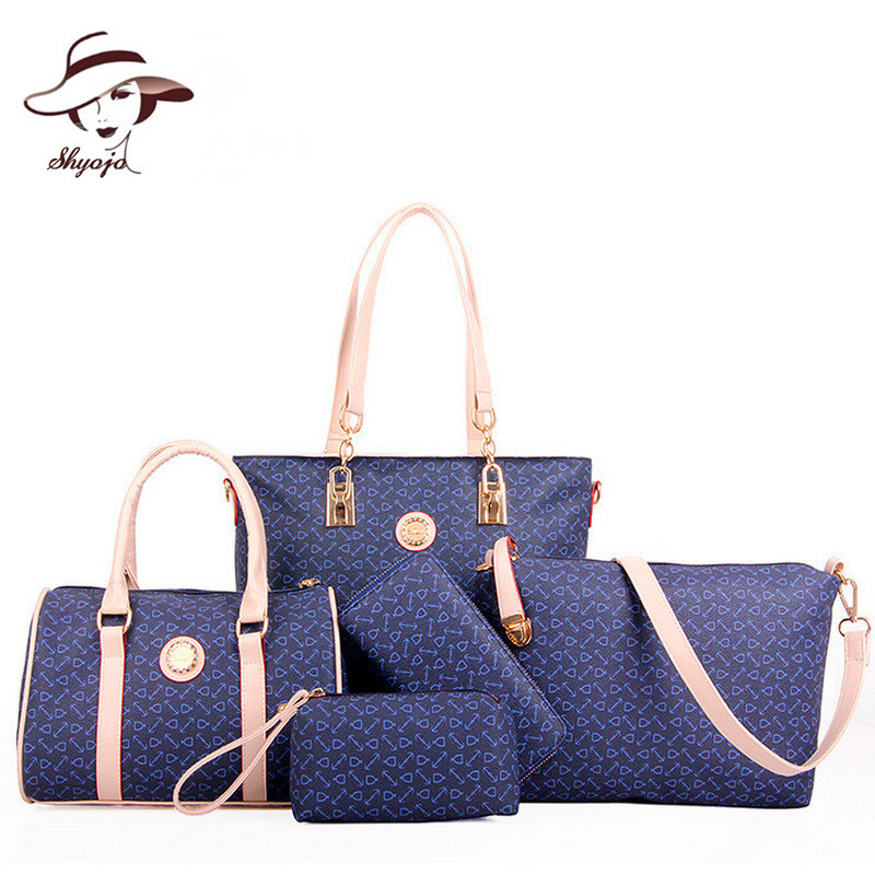 5 PCS/Set New Fashion Printing Composite Bag Brand Designer Women Handbag High Quality PU Leather Bags+Purse+Clutch +Wallet+Tote<br>