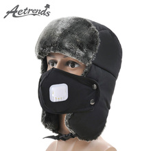 [AETRENDS] 2017 New Winter Russian Hat Mens Bomber Hats Sport Outdoor Ear Mask Bomber Caps Z-3878A()