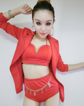 Fashion dj female singer jazz dance 3 piece jacket bra short clothing set costumes ds red slim suit stage wear performance(China)