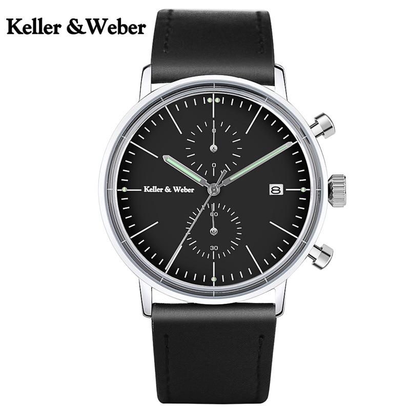 Keller &amp; Weber Classic Men Stop Watch Functional Sub Dials Auto Calendar Black Genuine Leather Strap Male Sport Wristwatch Clock<br>