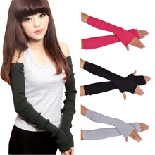 Quality Guarantee Sexy Lady  Women Arm Long Winter Half Fingerless Gloves Sleevelets Knitted Mittens Glove Hot 13 Colors