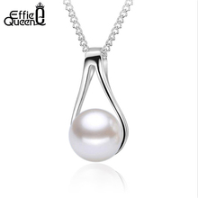 Effie Queen High Polished Fashion Imitation Pearl Necklace for Women Brand Pearl Pendant Jewelry with Necklace Chain PN108