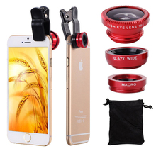 NYFundas Clip Fish Eye Wide Angle Macro Fisheye Mobile Phone Lens camera lenses Universal 3 in 1 For iPhone 6 5C Samsung HTC