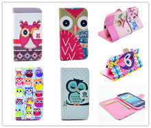 Leather Case Owl design tpu case for samsung galaxy s3 telephone cases covers to samsung i9300 9300 retail&wholesale