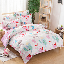 Cute Cats Bedding Set Cartoon Style Kids Home Textile Cats Duvet Cover sets Queen Size