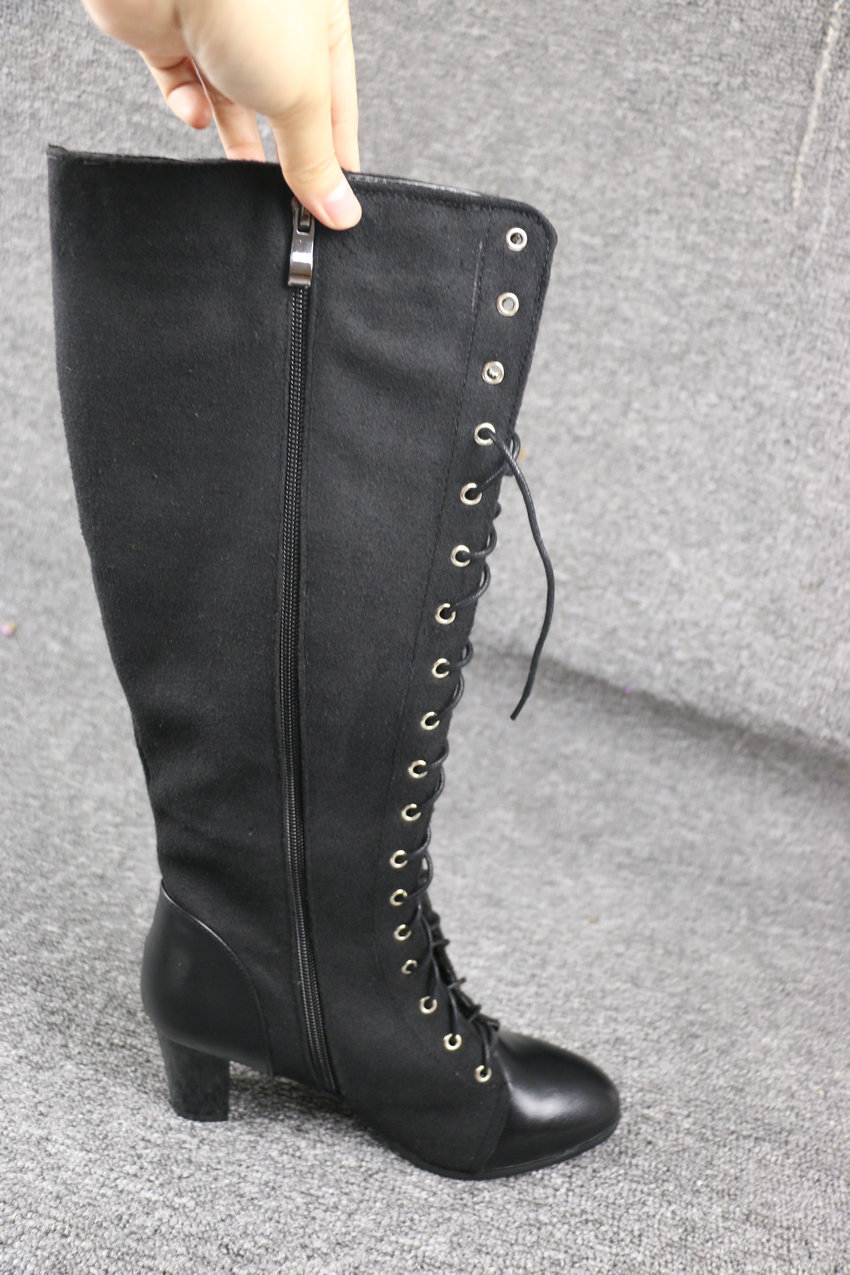 2018 Fashion Lace Up, Women's Knee High Boots, Round Toe Pu Leather, Square Heel Ladies Boots 19