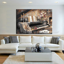 Professional Artist Hand-painted Impression Musical Instrument Piano Oil Painting On Canvas Handmade Piano Oil Paintings