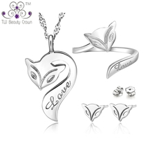 Casual Matching 925 Pure Silver Cute Fire Fox Animal Pendant Necklaces Earrings Ring Fashion Jewelry Sets For Young Ladies Girls
