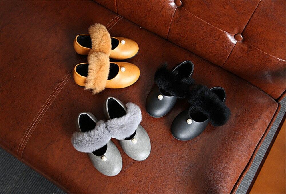 2017 Fashion Rabbit Fur Princess Girl Leather Shoe Pearl PU Children/Kid Party/Dancing Square Shoe Yellow/Black/Gray 16.5-18.5cm<br><br>Aliexpress