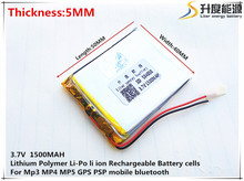 3.7V,1500mAH 504050 PLIB (polymer lithium ion / Li-ion battery ) for Smart watch,GPS,mp3,mp4,cell phone,speaker