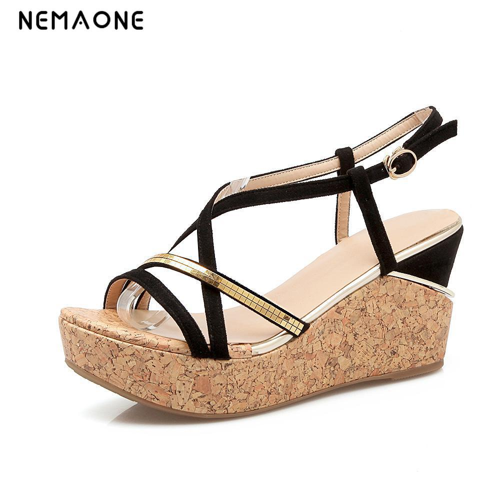 NEMAONE New womens shoes wedges sandals platform open toe cross strap platform shoes womens shoes<br>