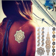 #233 The Most Popular Mandala Flower Tattoo, Gold Temporary Tattoo Flash Metallic Jewelry Tattoos
