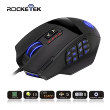 Rocketek 50 to 16400 DPI High Precision Laser MMO Gaming Mouse for PC,18 Programmable Buttons [Compatible with Windows 10](China)