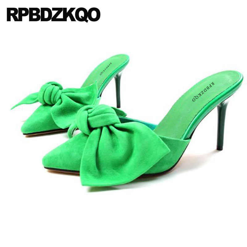 4d1bdddfaa61 Scarpin Pumps High Heels Fashionable Ladies Yellow Shoes For Wedding Mules  Slipper Black Bow Cute Pointed