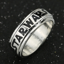 Star Wars Ring Letters Logo Sign Silver Color Black Enamel Classic Fashion Hot Movie Jewelry Cosplay For Men And Women Wholesale