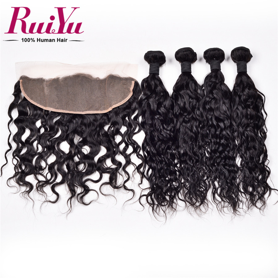 altMalaysian Water Wave Virgin Hair Lace Frontal Closure With Bundles Malaysian Curly Hair Natural Wave With Lace Frontal Closure