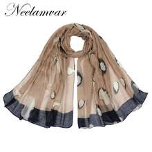 Neelamvar 2017 brand scarf women's Autumn and Winter shawl leopard print scarf polyester big size hijab from india ladies wraps(China)