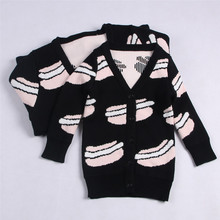 Family matching outfits spring Sweater Children's hamburger print colthes boys girls monther cotton knitting top Good quality