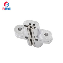 2pcs Stainless Steel Hidden Hinges 12x44mm Concealed Folding Door Hinge Invisible Cross Door Hinges for Furniture Hardware(China)