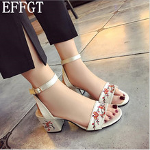 EFFGT Summer New Faux Suede Women Sandals Embroider High Heel Women Sandals Ethnic embroidery Sandals party Shoes C761