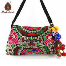 Buy 1 get 1 free National style embroidered hobos vintage cover canvas women handbags fashion Inclined shoulder bags