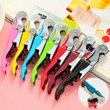 Double Hinged Corkscrew Hippocampus Knife Wine Bottle Opener Waiters Wine Key Random Color OEM Customized Available(China)