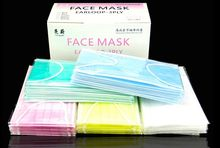 Free Shipping 50pieces/1box/lot Mixed Color 3PLY Disposable Face Mask Anti Pollution Anti Dust Personal Treatment Wholesale(China)